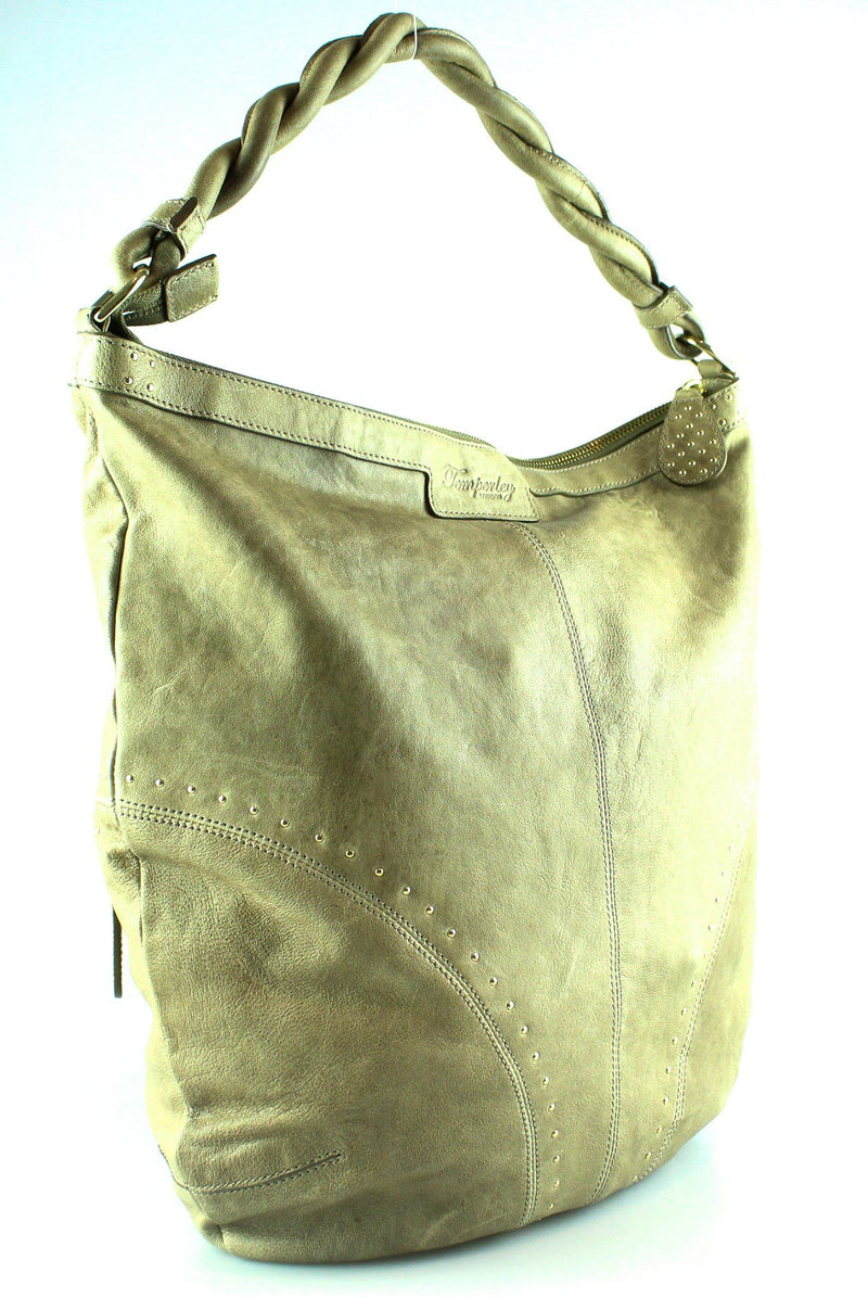 Temperly Twisted Handle Stud Hobo beige