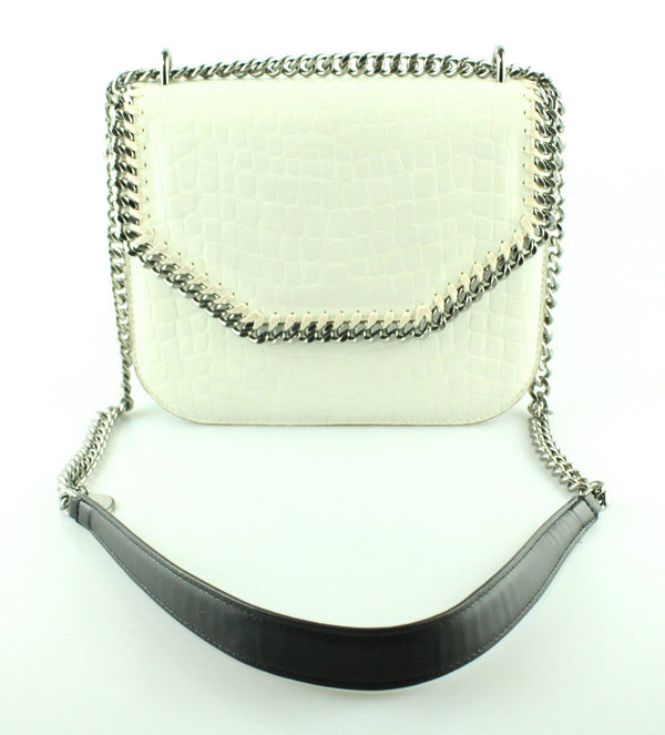Stella Mc Cartney White Faux Croc Falabella Box Bag
