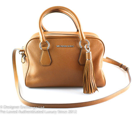 Michael Kors Tan Leather Tassel Bedford Satchel GH