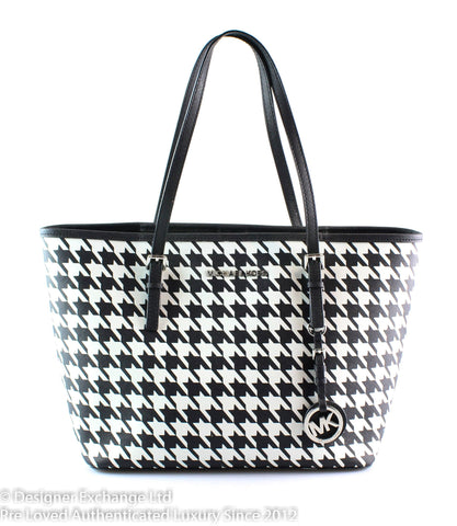 Michael Kors Small Houndstooth Jet Set Travel Saffiano
