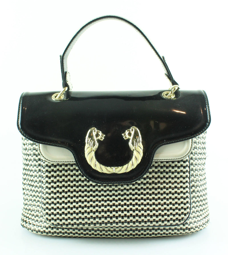 Bvlgari Black/White Woven Leather Leoni Top Handle Satchel