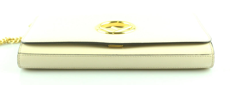 Fendi Cream Leather Kan I F Wallet On Chain