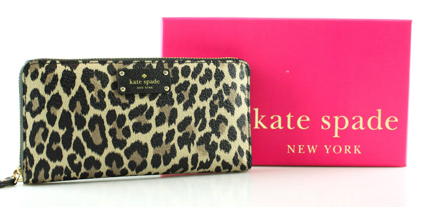 Kate Spade Leopard Print Zip Around Wallet Long