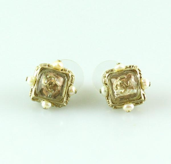 Chanel Baroque Glass CC Detail Stud Earrings