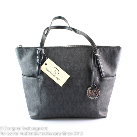 Michael Kors Jet Set Dark Grey/Black Monogram Tote SH