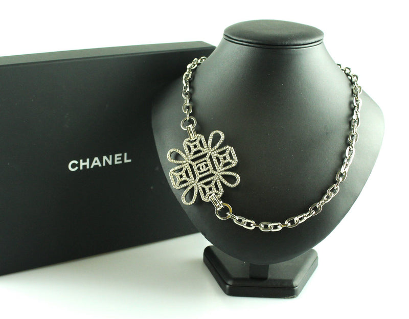 Chanel 2017 Silvertone Metal Large CZ Pendant Necklace