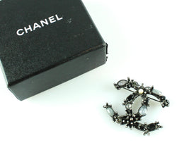 Chanel Black Metal Brooch With Mixed Stones 2012