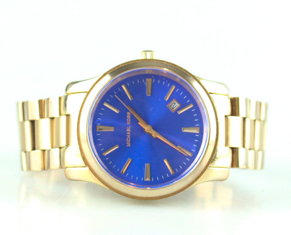 Michael Kors MK5913 Rose Gold Blue Dial Runway Watch