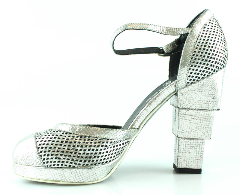 Chanel Silver Block Heel Shoes EUR 38.5 UK 5.5