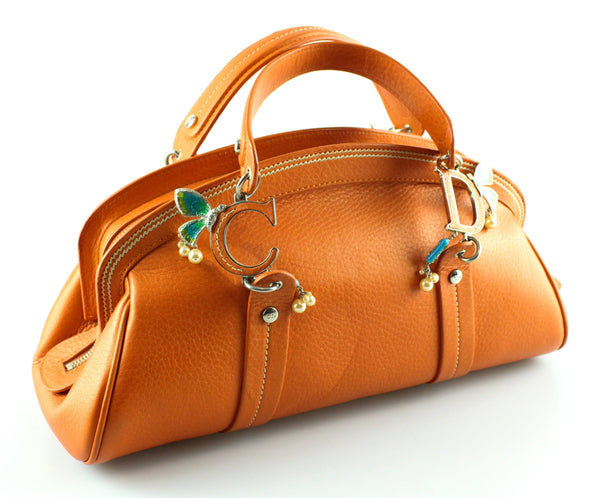 Christian Dior Orange Leather Ltd Edition East West Bowler Bag