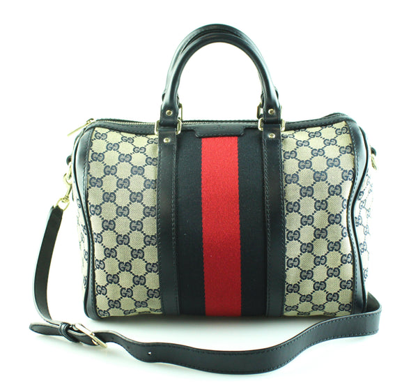 Gucci Vintage Web Original GG Boston Bag Navy With Strap
