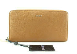 DKNY Tan Leather Pebbled Zip Around Wallet GH