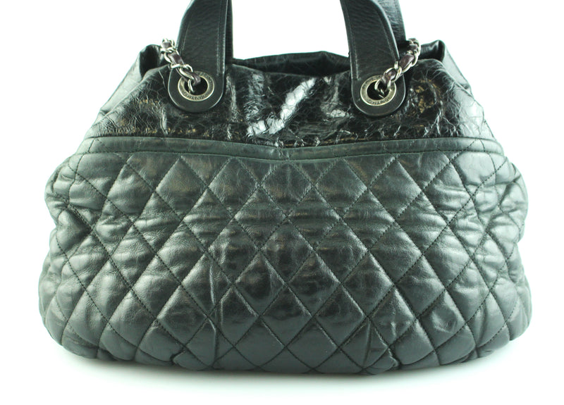 Chanel In The Mix Hobo Washed Calf And Patent Black