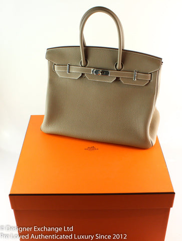 Hermes Birkin 35 Togo Etoupe 2016 Palladium (Boxed As New)