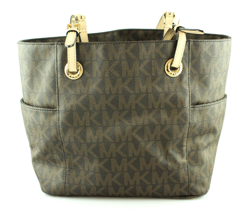 Michael Kors Brown Monogram Jet Set Tote Double Pocket