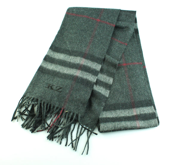 Burberry Giant Check Cashmere Scarf 168cm x 30cm Charcoal