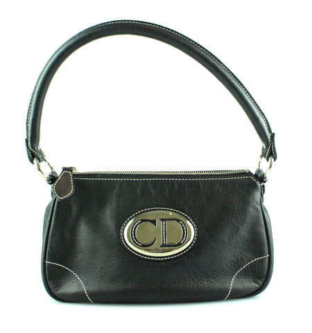 Christian Dior Small Black Logo Plate Shoulder Bag e7e314b8efd76