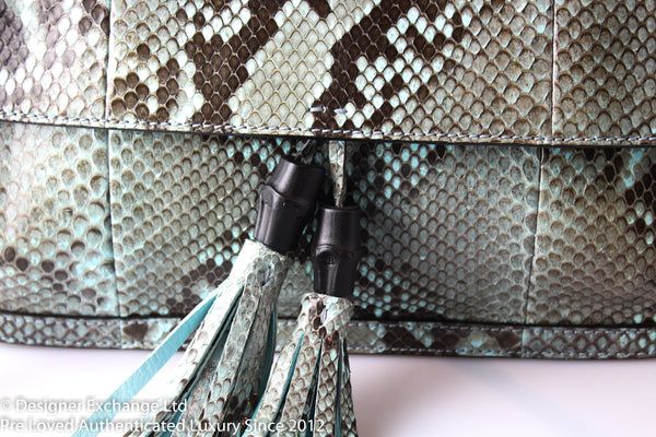 Gucci Daily Flap Python Turquoise/Black With Bamboo Tassle