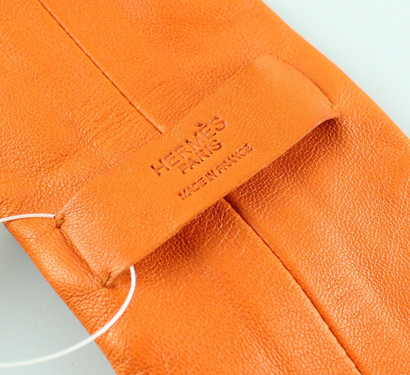 Hermes Orange Leather Tie