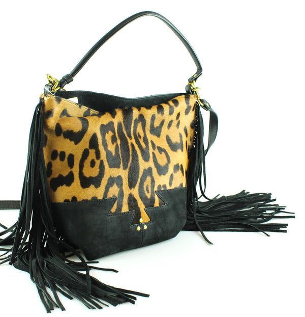 Jerome Dreyfuss Mario Fringed Leopard Calf Hair Bag