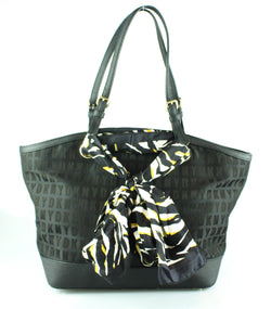 DKNY Black Monogram Tote With Scarf