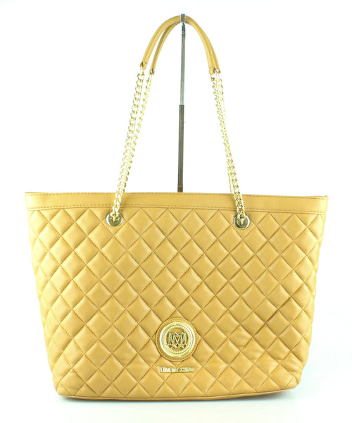 Moschino Beige Quilted Leather Tote