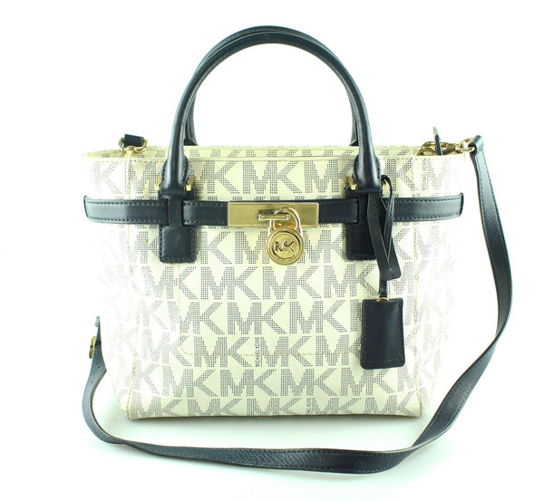Michael Kors White Monogram/Navy Small Hamilton GH