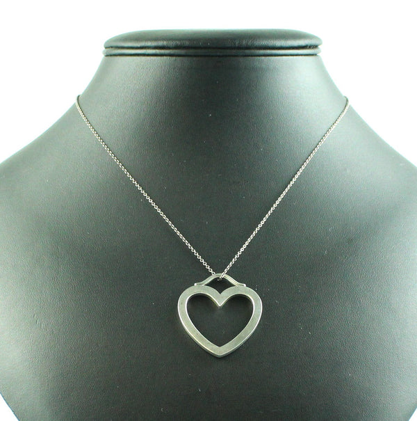 Tiffany & Co Large Open Sterling Silver Heart Pendant On Chain (Retired)