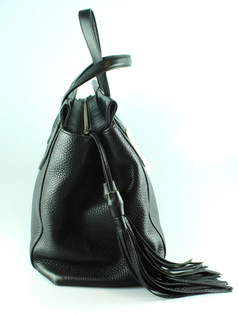 Gucci Lady Tassel Black Nappa Leather Lined Tote