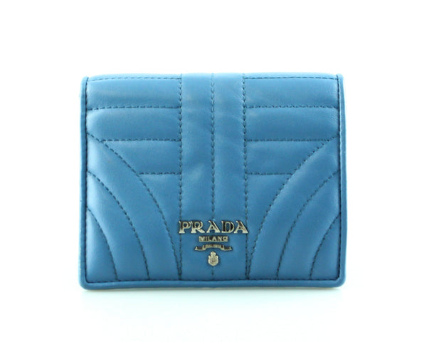 Prada Blue Diagramme Soft Calf Compact Flap Wallet