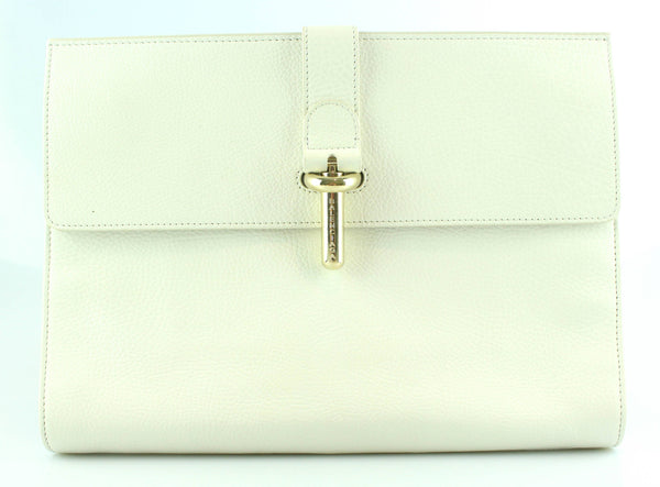 Balenciaga White Leather Tube Clutch GH