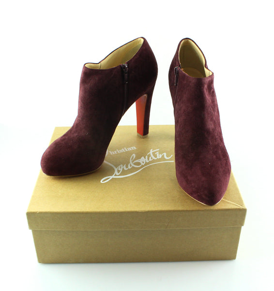half off 3bc13 bfed1 Christian Louboutin Vicky Bordeaux Suede 120mm Ankle Boot EUR40.5 UK 7.5