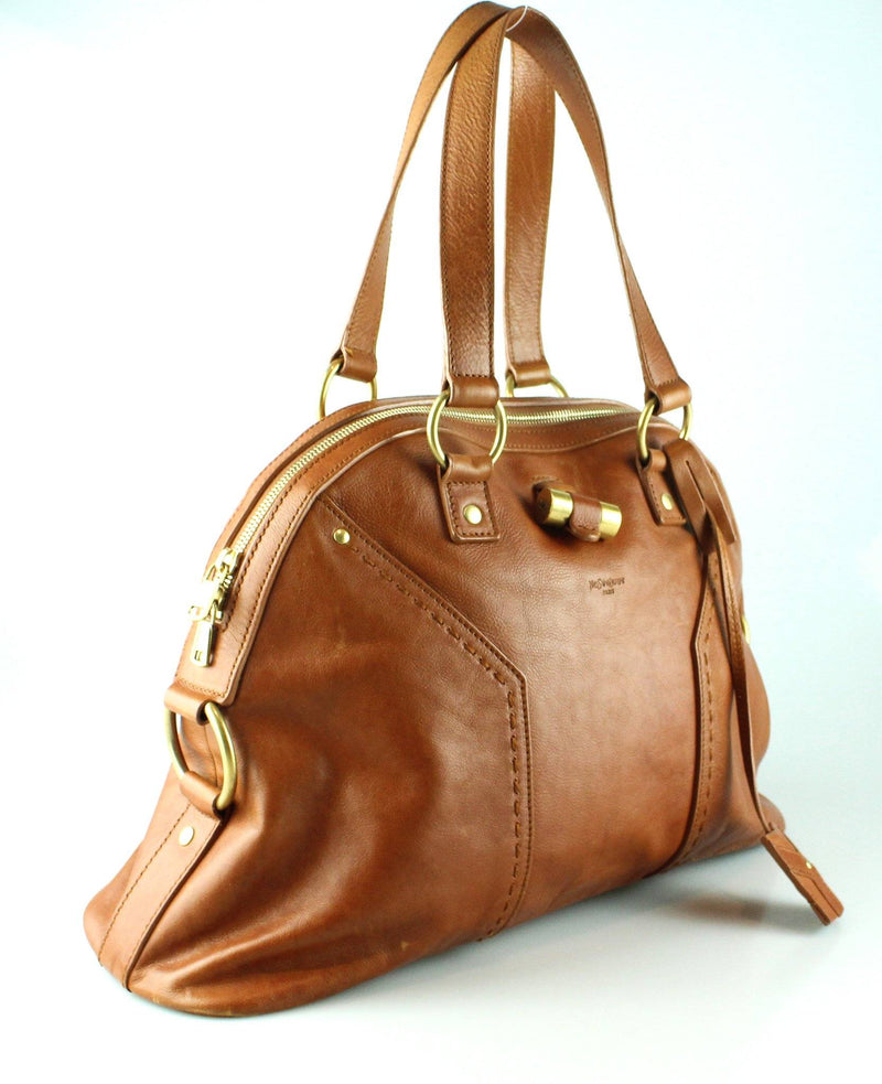 YSL Muse Tan Tote Gold HW (1)