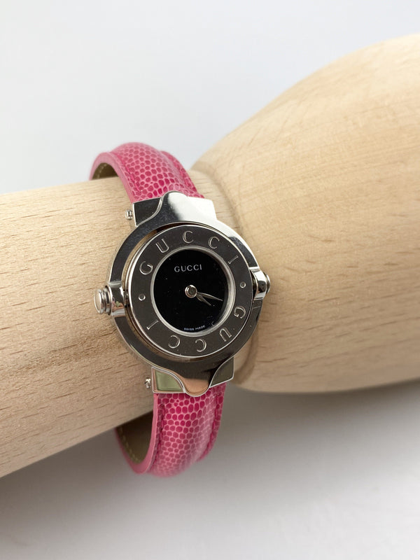 Gucci Pink Lizard Strap Twirl Medallion Watch