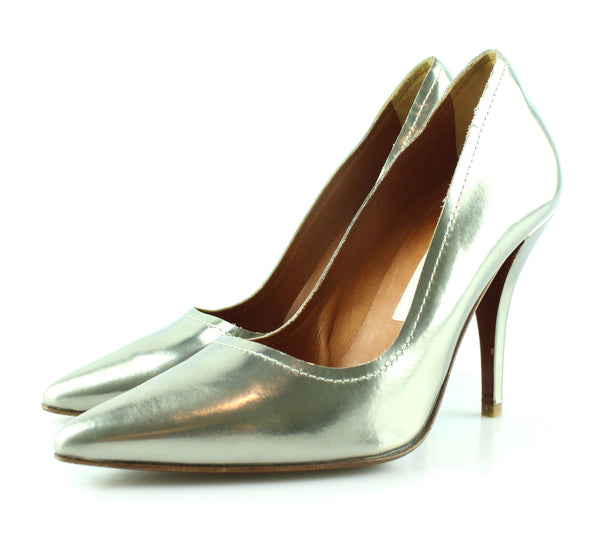 Lanvin Metallic Silver Pointed Toe Heels EUR 36 UK 3