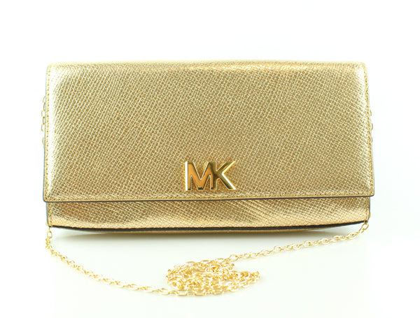 Michael Kors Rose Gold Mott Metallic Leather Clutch With Chain
