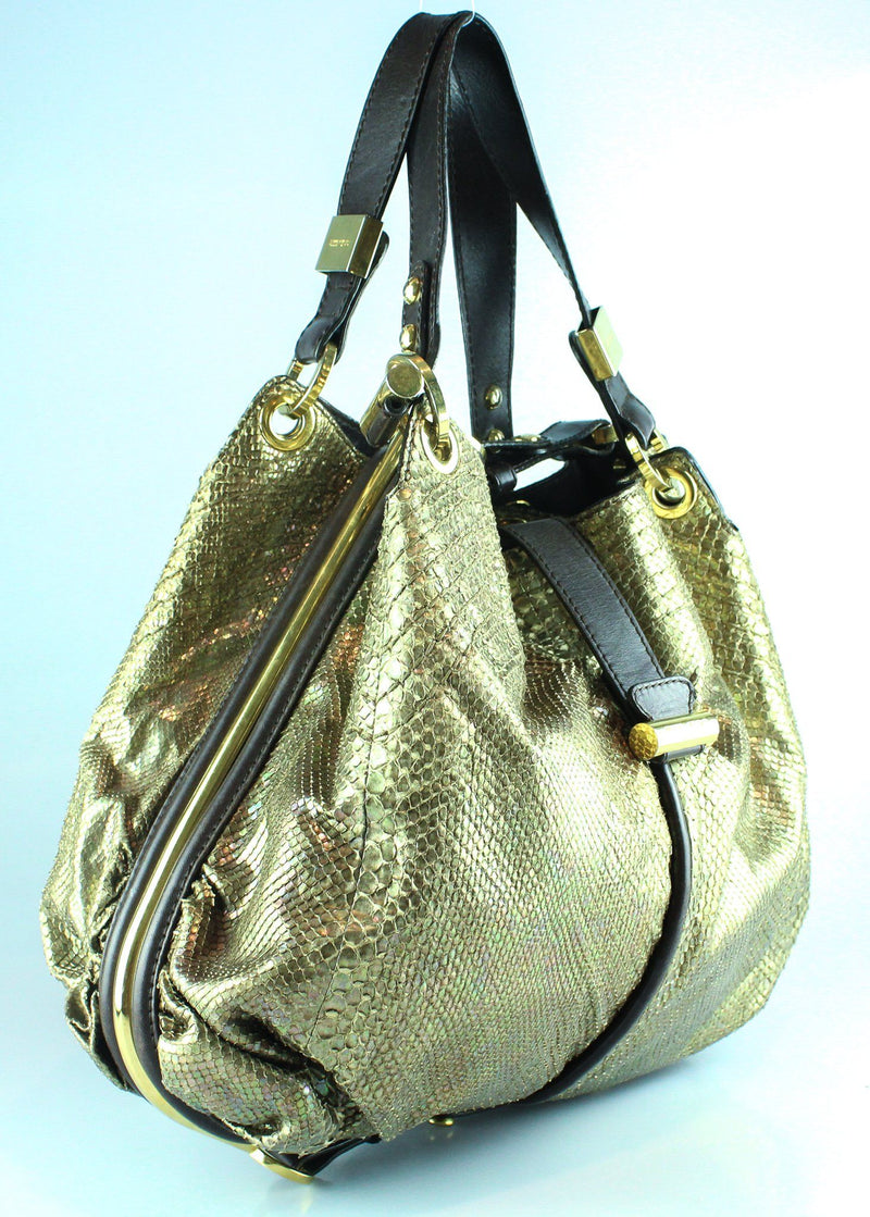 Jimmy Choo Alex Hobo Iridescent Snake Print And Gold Frame