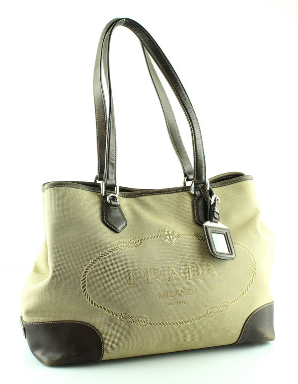 Prada Canvas Logo Shopper Leather Trim