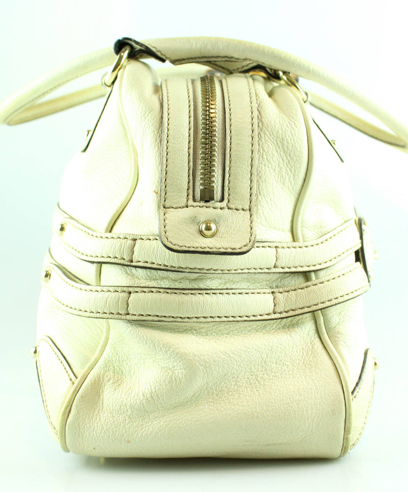 Gucci Ivory Leather Wave Boston Bag