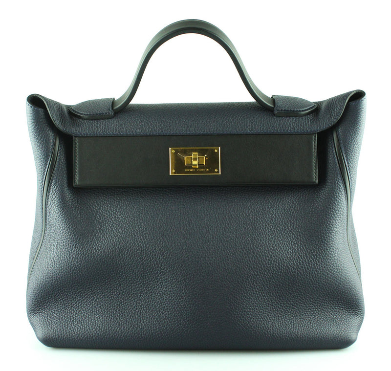 Hermes 24/24 Togo And Swift Leather 35cm Bleu Nuit/Noir