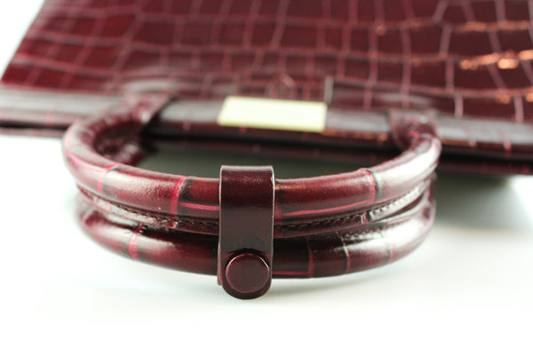 Aspinal Of London Large Florence Deep Shine Bordeaux Croc Embossed Calf RRP €950