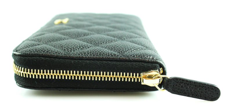 Chanel Black Caviar Classic Zipped Wallet GH