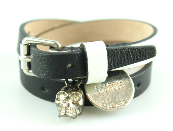 Alexander McQueen Double Wrap Black/White Leather Skull Bracelet