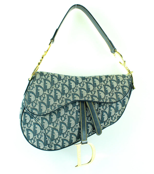 Christian Dior Vintage Monogram Denim Saddle Bag GH