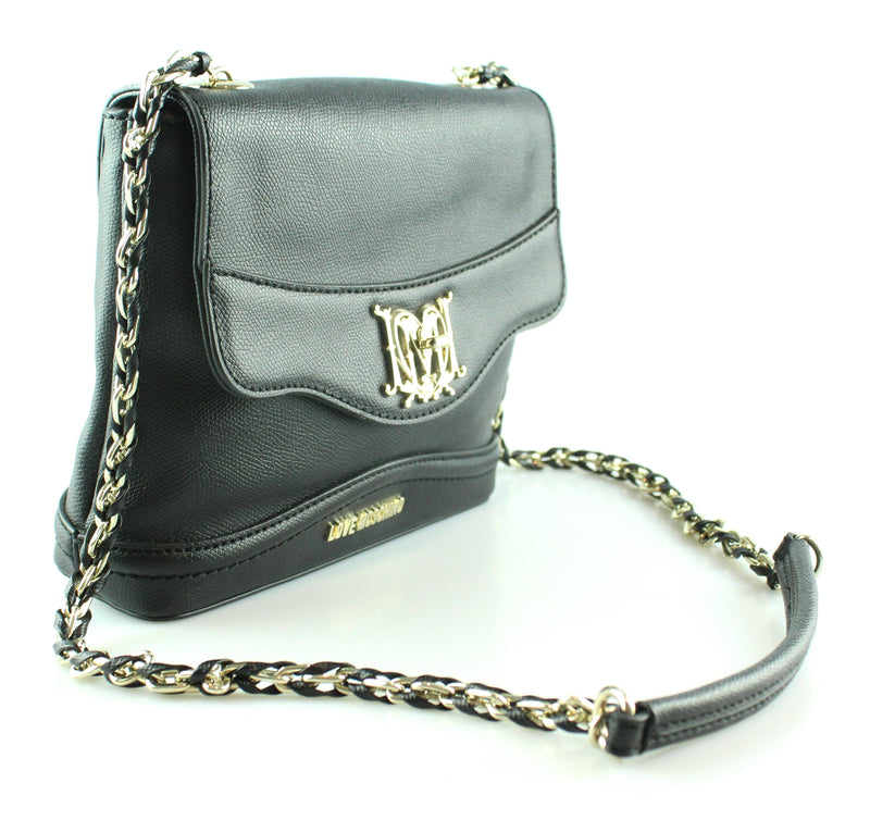 Love Moschino Black Faux Leather Turnlock Chain Bag