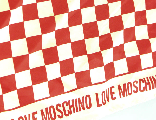 Love Moschino Small Chequered Red Silk Square