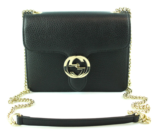 Gucci Black Interlocking Chain GG Closure Crossbody