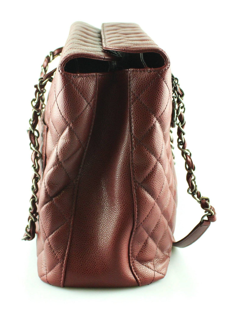 Chanel 2015 Burgundy Quilted Caviar City Tote