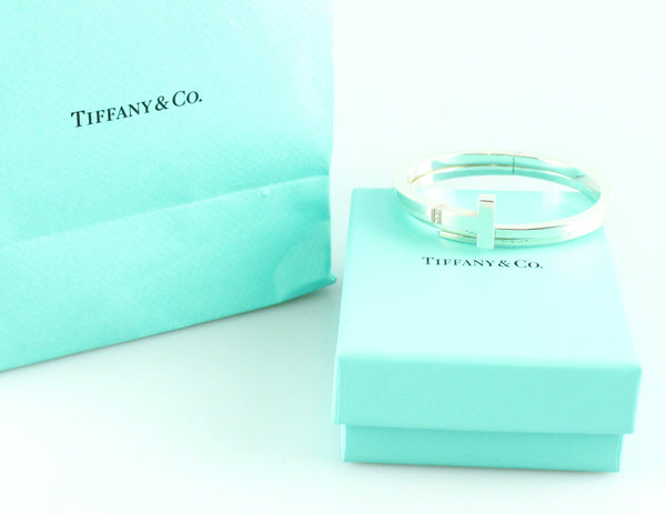 Tiffany & Co T Square Wrap Bangle Sterling Silver With Diamonds M (RRP €1750)