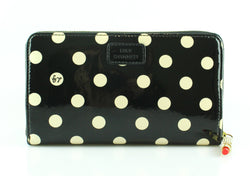 Lulu Guinness Polkadot Black White Patent Long Zip Wallet